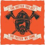 Conception de label de T-shirt de sapeur-pompier Photo stock