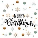 Conception de lettrage éclatante d'or de Joyeux Noël Illustration de vecteur Images stock