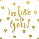 Conception de lettrage d'or pour la carte dans l'amour avec vous Illustration Stock