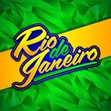 Conception de lettrage de vecteur de Rio de Janeiro avec les couleurs de drapeau et le fond brésiliens de fractale illustration de vecteur