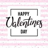 Conception de lettrage heureuse de dessin de main de jour de valentines Images libres de droits