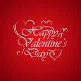 Conception de lettrage heureuse de dessin de main de jour de valentines Image stock