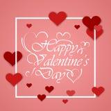 Conception de lettrage heureuse de dessin de main de jour de valentines Photos stock