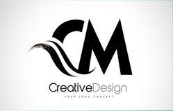 Conception de lettres de cm C M Creative Brush Black avec le bruissement Illustration de Vecteur