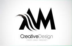 Conception de lettres d'AM heure du matin Creative Brush Black avec le bruissement Illustration Stock
