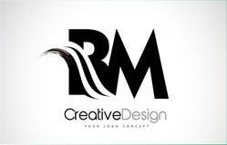 Conception de lettres de la nomenclature B M Creative Brush Black avec le bruissement Illustration de Vecteur