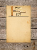 Conception de liste de vin Photos libres de droits