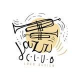 Conception de logo de club de jazz, label de musique de vintage avec des trompettes, élément pour l'insecte, carte, tract ou bann illustration stock