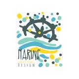 Conception de logo de club de marine ou de yacht avec les vagues de résumé et le volant de bateau Vecteur coloré tiré par la main illustration libre de droits