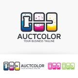 Conception de logo de couleur de vente aux enchères illustration stock