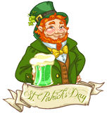 Conception de logo de jour de St Patricks avec l'homme de lutin Photo stock