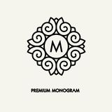 Conception de logo de place de vecteur de calibre et concept conceptuels de monogramme dans le style linéaire à la mode, insigne  Image stock