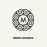 Conception de logo de vecteur conceptuel de calibre et concept ronds de monogramme Image libre de droits