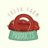 Conception de logo des saucisses avec le cadre et le lettrage Illustration de vecteur Image stock