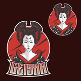 Conception de logo de mascotte d'esports de Japan Girls de geisha pour l'équipe de sport illustration de vecteur