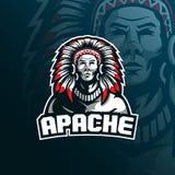 Conception de logo de mascotte de vecteur d'Apaches de tribu avec le style moderne de concept d'illustration pour l'impression d' illustration de vecteur