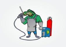 Conception de logo de mascotte de vecteur d'illustration de soudure de crocodile illustration stock