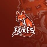 Conception de logo de mascotte de vecteur de Fox avec le style moderne de concept d'illustration pour l'impression d'insigne, d'e illustration libre de droits
