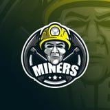 Conception de logo de mascotte de vecteur de mineur avec le style moderne de concept d'illustration pour l'impression d'insigne,  illustration stock