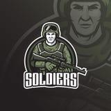 Conception de logo de mascotte de vecteur de soldat avec le style moderne de concept d'illustration pour l'impression d'insigne,  illustration stock