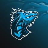 Conception de logo de vecteur de mascotte de dragon avec le style moderne de concept d'illustration pour l'impression d'insigne,  illustration de vecteur