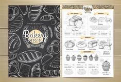 Conception de menu de boulangerie de dessin de craie de vintage illustration libre de droits