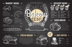 Conception de menu de boulangerie de dessin de craie de vintage Le dîner de mariage avec de la viande de roulis a fumé et des tom Photographie stock