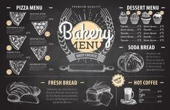 Conception de menu de boulangerie de dessin de craie de vintage Le dîner de mariage avec de la viande de roulis a fumé et des tom Photographie stock libre de droits