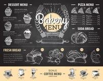 Conception de menu de boulangerie de dessin de craie de vintage Le dîner de mariage avec de la viande de roulis a fumé et des tom Image libre de droits