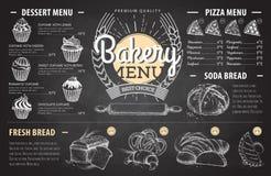 Conception de menu de boulangerie de dessin de craie de vintage Le dîner de mariage avec de la viande de roulis a fumé et des tom Images libres de droits