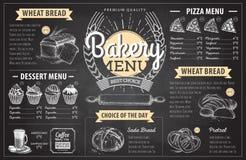 Conception de menu de boulangerie de dessin de craie de vintage Le dîner de mariage avec de la viande de roulis a fumé et des tom Photo stock