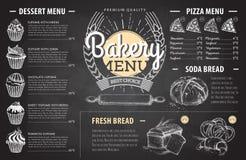 Conception de menu de boulangerie de dessin de craie de vintage Le dîner de mariage avec de la viande de roulis a fumé et des tom Photos stock