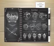 Conception de menu de boulangerie de dessin de craie de vintage Le dîner de mariage avec de la viande de roulis a fumé et des tom illustration libre de droits