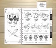 Conception de menu de boulangerie de vintage Le dîner de mariage avec de la viande de roulis a fumé et des tomates Calibre de doc illustration stock