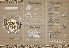 Conception de menu de boulangerie de vintage sur le fond de cartboard illustration libre de droits