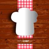 Conception de menu, chapeau de chef de Papercut sur le fond en bois. Vecteur eps1 Images stock