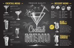 Conception de menu de cocktail de dessin de craie de vintage Menu de boissons illustration libre de droits