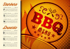 Conception de menu de brochure de BBQ Photos libres de droits