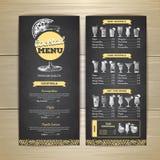 Conception de menu de cocktail de dessin de craie Photographie stock