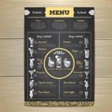 Conception de menu de cocktail de dessin de craie Image libre de droits