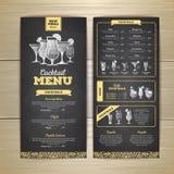 Conception de menu de cocktail de dessin de craie Photos libres de droits