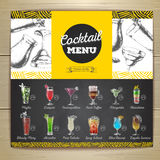 Conception de menu de cocktail de dessin de craie de vintage Photos stock