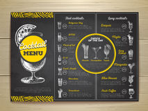 Conception de menu de cocktail de dessin de craie de vintage Images stock