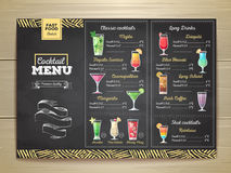 Conception de menu de cocktail de dessin de craie de vintage illustration stock