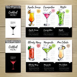 Conception de menu de cocktail Template de corporation pour des dessin-modèles d'affaires Photo stock