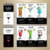 Conception de menu de cocktail Template de corporation pour des dessin-modèles d'affaires Photographie stock libre de droits