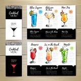 Conception de menu de cocktail Template de corporation pour des dessin-modèles d'affaires Photos stock