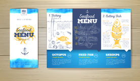 Conception de menu de fruits de mer d'aquarelle Template de corporation pour des dessin-modèles d'affaires Images libres de droits