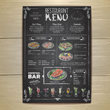 Conception de menu de restaurant de dessin de craie Image stock