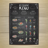 Conception de menu de restaurant de dessin de craie Photographie stock
